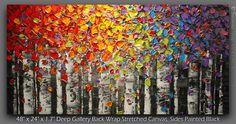 Bouleau arbre paysage peinture à l'huile peinture abstraite Art Aspen couteau mur moderne Art Texture originale grande, par Susanna fait sur commande