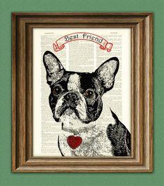 best friend boston terrier print on vintage dictionary paper
