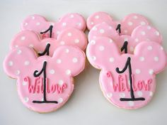 Oh Boy! Minnie Mouse Cookies First Birthday Pink Cookies
