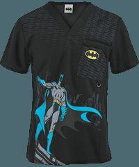0c78e3ef37f Cherokee Tooniforms Scrubs The Batman Men's Print Top Disney Scrub Tops, Disney  Scrubs, Uniform