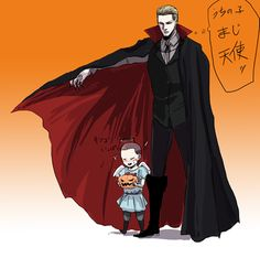"""gekkougastrikesback: Happy Halloween! To father and son duo """"Jake Muller and Albert Wesker."""" Unknown source. Permission to post was granted by the artist."""