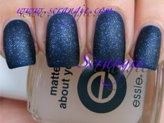 Essie - Matte About You - Matte Top Coat.  It works on Glitter Nail Polish TOO!  Here: layered over Essie - Starry, Starry Night.  Swatch via Scrangie.com