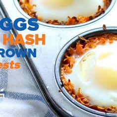 Eggs in Hash Brown Nests.
