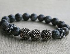 larvikite bracelet gemstone bracelet handmade by koralikowyraj