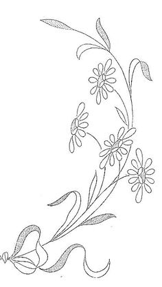 lots of embroidery images here. Embroidery Flowers Pattern, Hand Embroidery Designs, Ribbon Embroidery, Embroidered Flowers, Beaded Embroidery, Cross Stitch Embroidery, Motifs Art Nouveau, Embroidery Patches, Colouring Pages