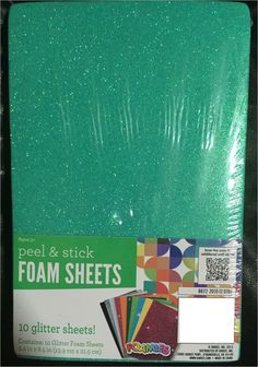 10 Colorful Peel and Stick Glittery Foam Sheets for Kids' Crafts Ages 3+ New