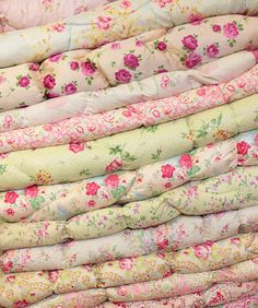 bedding for a nursery/spare room/cottage. So soft and pretty. I want a pillow or soft blanket in every one of these fabrics.