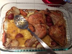 A Moment On The Lips, Forever On The Hips: Roasted Chicken Leg Quarters with Lemon Carrots and Garlic Rosemary Red Potatoes