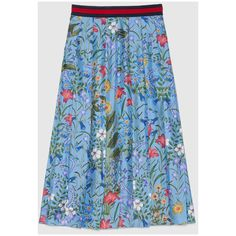 Gucci New Flora Print Skirt (86.025 RUB) via Polyvore featuring skirts, blue pleated skirt, mid length skirts, long blue skirt, floral skirt and pleated skirt