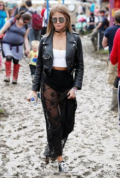 No rain on her fashion parade! Millie Mackintosh flashes her underwear in sheer maxi skirt as she glams up for second day at Glastonbury with beau Hugo Taylor | Daily Mail Online