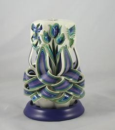 Peacock Dutch Garden carved candle - By Holland House Candles