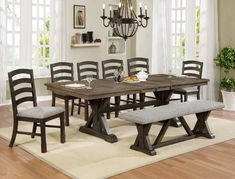 Shop for Armina Brown Rectangular Dining Set W/ 6 Chairs & Bench starting at at our furniture store located in Louisiana, Texas, and Arkansas. Modern Farmhouse Table, Farmhouse Dining Room Table, Dining Room Sets, Dining Room Furniture, Kitchen Chairs, Dining Set With Bench, Small Dining, Round Dining, Round Kitchen