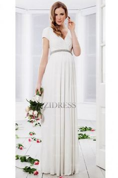 Sheath/Column V-neck Floor-length Chiffon wedding dress - IZIDRESSES.com at IZIDRESSES.com