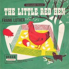 """The Little Red Hen— vintage kids' album cover —  Frank Luther Decca CUS-11 (1) 10"""" 78RPM record in sleeve"""