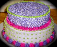 Neon Party Cake- less pink & purple, more green, blue, & yellow