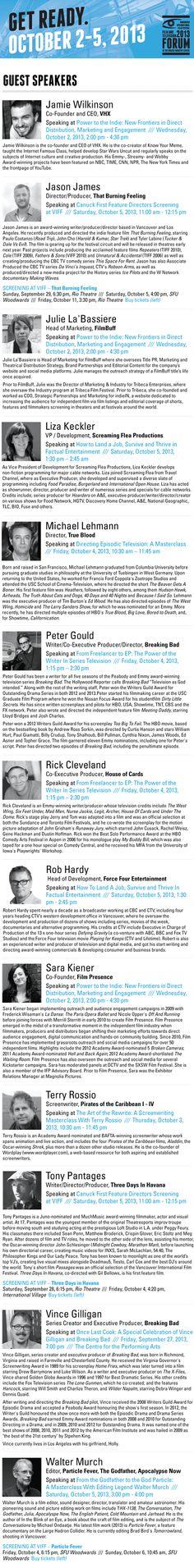 Forum Guests 2 Guest Speakers, International Film Festival, Vancouver