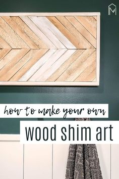 This wood wall art is cheap and easy to make with wood shims! #woodworking #wallart #DIY #walldecor #bohostyle