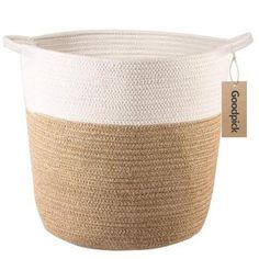 Goodpick Cotton Rope Storage Basket- Jute Basket Woven Planter Basket Rope Laundry Basket with Handles for Toys, Blanket and Pot Plant Cover, Blanket Basket, Toy Basket, Basket For Blankets, Jute, Woven Laundry Basket, Plant Covers, Large Storage Baskets, Decorative Baskets, Decorative Accents