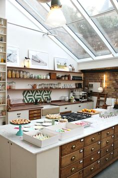 Love the windows in the ceiling.. Vintage style kitchen where Jamie Oliver cooks – Papermill studios.