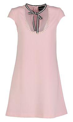Roze jurk met zwarte strik atos lombardini online bij Deleye.be & BeKult