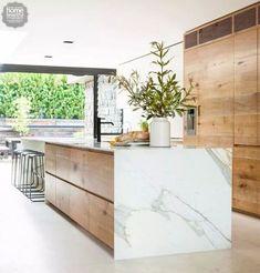 Modern Kitchen Interior - Last week, I wrote a post featuring 10 restaurant interiors to inspire your kitchen renovation Outdoor Kitchen Countertops, Modern Kitchen Cabinets, Marble Countertops, Modern Kitchen Design, Wood Cabinets, Interior Design Kitchen, Kitchen Ideas, Kitchen Wood, Modern Interior