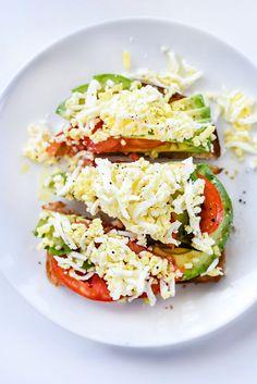 Avocado Toast with Tomato and Hard Boiled Egg | foodiecrush.com