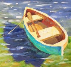 COLORFUL ROW BOAT IN SHALLOW WATER, 6x6 OIL ON MASONITE by TOM BROWN, $1 AUCTION, painting by artist Tom Brown