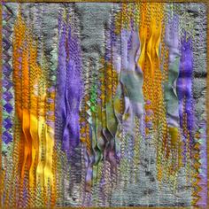 """Ribbon embroidery, folding, manipulation, embroidery, stitching. Illumination # 37, 5"""" x 5"""" by Ludmila Aristova"""