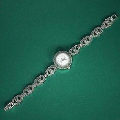 Stunning Vintage Design Solid Sterling Silver 925 Marcasite Quartz Ladies Watch
