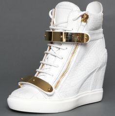 Giuseppe Zanotti Wedge Sneakers Goldtone Hardware - CL