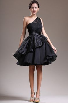 black-one-shoulder-knee-length-organza-a-line-cocktail-dress-
