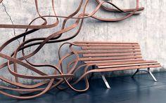 Super cool bench...so simple in concept...so complex in design...  Estúdio FD Arquitetura e Interiores : # Banco Spaghetti feito de Madeira