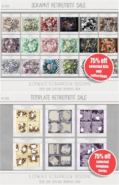 Retirement Product Sale by Ilonka's Scrapbook Designs! Now 75% off on selected Kits, Collections, Template Packs and Commercial Use Papers. DigiScrapbooking; http://www.digiscrapbooking.ch/shop/index.php?main_page=index&manufacturers_id=131&zenid=505e549644797992fb6f20f38872706b. 05/16/2015