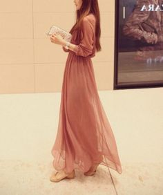 Pink/ black long sleeve Chiffon Long dress by fashionclothingshow, $52.00