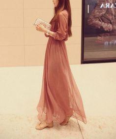 Pink/ black long sleeve Chiffon Long dress by fashionclothingshow, $52.00