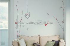 Lovely And Birds Tree Wall Decals – WallDecalMall.com