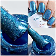 "Today I am featuring ""Chuck Finley is Forever"". Is is a rich blue nail polish with a teal flash and scattered holographic shimmer. Dries to a satin finish. Opaque in two thin coats. Glossy topcoat recommended. You can buy it for $10 at my etsy shop linked below. Thank you to the wonderful Ashley from fireangel120 for the beautiful photos!  https://www.etsy.com/listing/477707914/chuck-finley-is-forever?ref=shop_home_active_13"