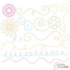 Clip Art Stitched Doodle Borders and Flourishes  #Digital Scrapbooking  #sonyadehartdesign
