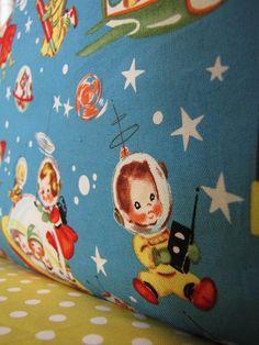 Baby BOY bedding in RETRO ROCKETS includes by birdshaveflowers
