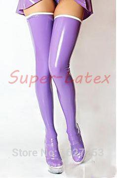 紫色のラテックスゴムストッキングゴムの腿の高いストッキング