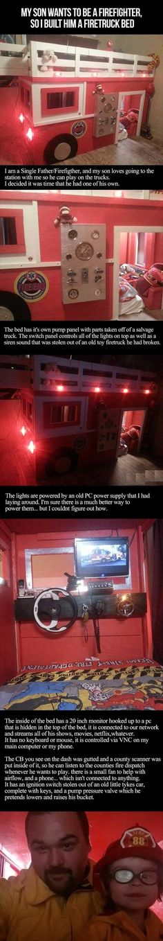 This dad wins most awesome dad award! He built his son a firetruck bed with some awesome stuff inside that are off actual fire trucks! Wow!!!