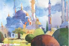 The Blue Mosque, Istanbul, Mel Stabin transparent watercolor.