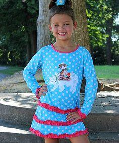 Aqua & Red Polar Bear Ruffled Drop-Waist Dress - Toddler & Girls