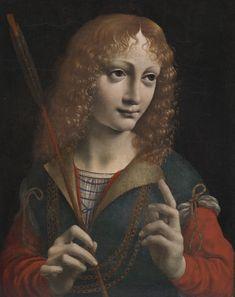 Portrait of a Youth as Saint Sebastian, late 1480s Giovanni Ambrogio de Predis (Italian, 1455-aft 1508) oil on wood, transferred to pressed wood, Framed: 47.50 x 41.00 x 4.00 cm