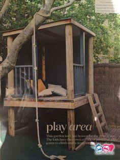 Garden Design For Kids Cubby house!Garden Design For Kids Cubby house! Backyard Playground, Backyard For Kids, Backyard Ideas, Pallet Playground, Backyard Designs, Cool Tree Houses, Pallet Tree Houses, Build A Playhouse, Garden Playhouse