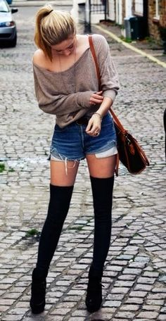 Sweater, denim shorts and tights