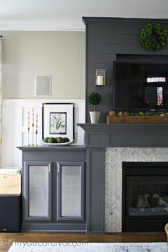 How to hide the TV electronics and wires - NO one wants to look at those!  Such a great idea! from Thrifty Decor Chick