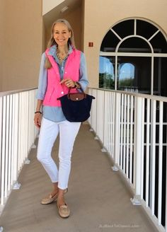 Fashion-Over-40-Lilly-Pulitzer-Vest-White-Skinny-Jeans-Longchamp-Tote ~JLJBackToClassic.com