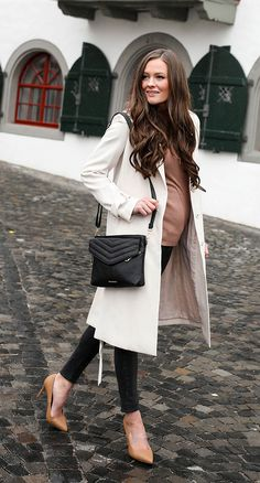 Dressed up maternity fashion. Heels, trench coat, and turtle neck with black jeans. Affordable fashion ideas.