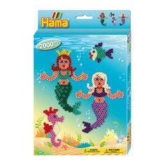 Hama perlepladesæt Midi, havfrue + 2000 perler   LirumLarumLeg